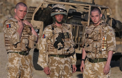 Ben Batt as Peter MacShane, Mackenzie Crook as Lance Corporal Alan Buckley and Benjamin Smith as Frankie Nash